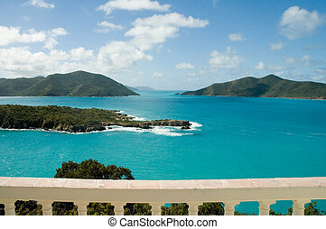Caribbean view from Camanoe in the British Virgin Islands -...