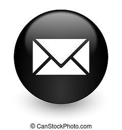 email black glossy internet icon - black glossy computer...