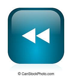 rewind blue glossy internet icon - blue glossy web icon