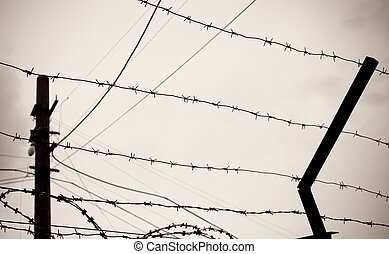 barbwire - photo of old rusty barbed wire against sky