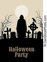 Halloween Party on a spooky graveyard - Spooky graveyard on...