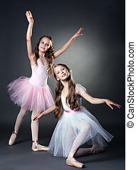 Image of two lovely ballerinas posing at camera - Image of...