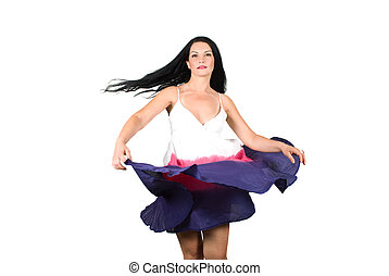 Beauty woman spinning her dress - Beauty young brunette...
