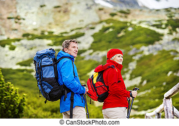 Senior couple hiking - Senior tourist couple hiking at the...