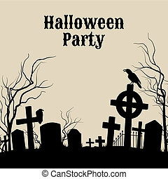 Halloween Party on a spooky graveyard, retro poster