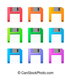 Floppy disc icon set - Illustration of an isolated floppy...