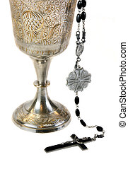 Ornate Communion Chalice and Rosary - Ornate chalice for...