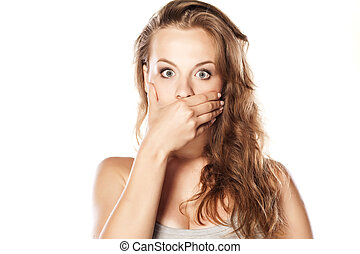 shocked blonde - shocked young blonde on white background