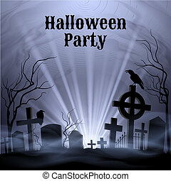 Halloween Party with eery white light on a spooky graveyard