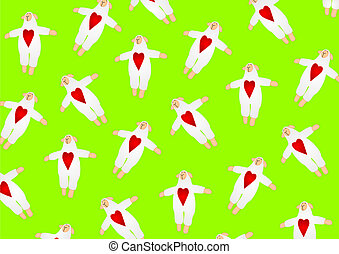 Sheeps with red hearts background