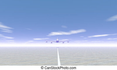 Plane taking off - 3D render - Frontview of a plane taking...
