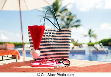 close up of summer accessories - beach, summer, christmas,...