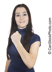 Successful young woman with fist up - smiling winning girl...
