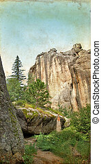 Granite Cliff in the Black Hills on Grunge Background