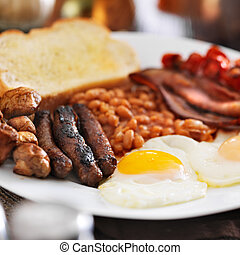 full english breakfast in square composition