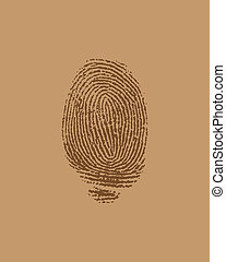 vector finger print on brown paper