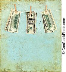 grunge, készpénz, háttér, ruhaszárító kötél
