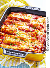 Cannelloni with meat - Meat cannelloni with tomato sauce and...