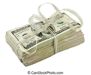 Stack of $100 Dollar Bills Tied with a Ribbon