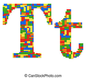 Letter T built from toy bricks in random colors - Letter T...
