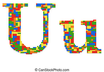 Letter U built from toy bricks in random colors - Letter U...