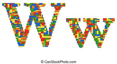 Letter W built from toy bricks in random colors - Letter W...