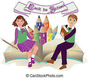 Back to School Little school girl and boy with old book,...