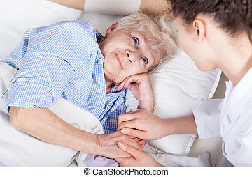 anciano, mujer, Cama