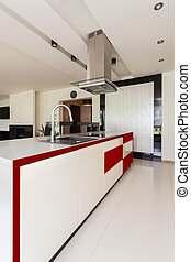 Modern and stylish kitchen - Interior of light, modern and...