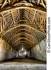 Interior of Tithe Barn, near Bath, England - The Tithe Barn...