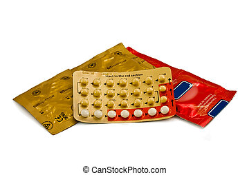 Contraception - Closeup of male and female contraceptives...