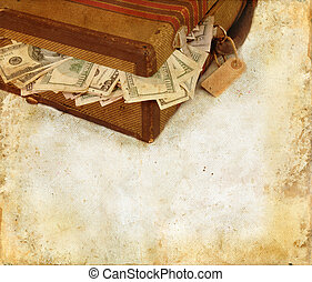 Suitcase Stuffed With Money Grunge Background