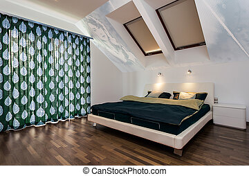 Modern bedroom at home - Interior of modern bedroom at home,...