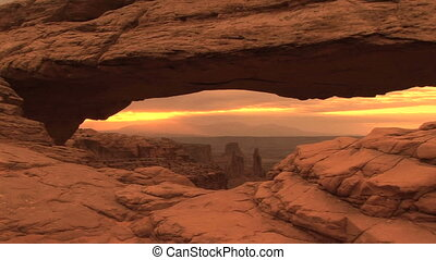 Canyonlands National Park, Mesa Arch, zoom in