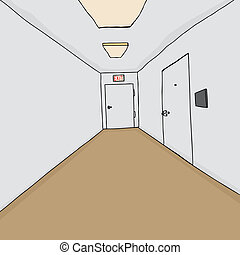 Single Office in Hallway - Hallway background with emergency...