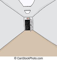 Exit Door in Hall - Cartoon hallway background with single...