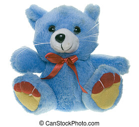 Teddy bear - Blue teddy bear with a red bow