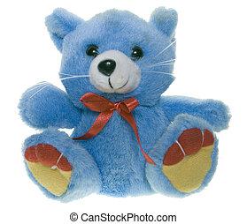 Teddy bear - Blue teddy bear with a red bow