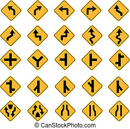 yellow road signs, traffic signs vector set on white...
