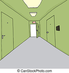 Bright Exit in Hallway - Cartoon of bright exit doorway in...