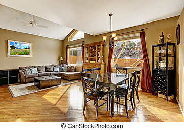 House interior. Living room with dining area - House inteior...