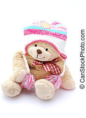 Teddy bear in winter clothes - A happy smiling teddy bear...