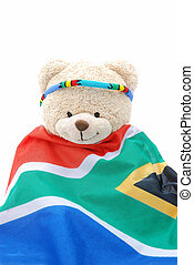 South African teddy bear - A cute beige teddy bear wearing a...