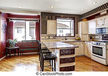 Kitchen room interior in contrast white and red colors -...
