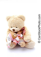 Teddy bear dad with baby - A big beige teddy bear daddy...