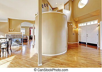 House interior. View of entrance hallway and living room -...