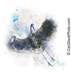 Watercolor Image Of Great Blue Heron - Watercolor Digital...
