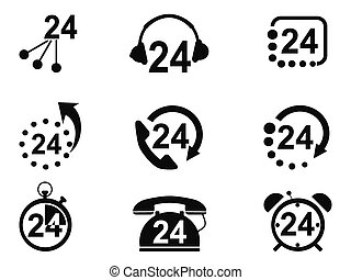 24-hrs service icons - isolated 24-hrs service icons from...