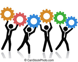 teams working up gears - isolated business teams working up...