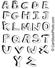 hand written alphabets - isolated hand written alphabets on...